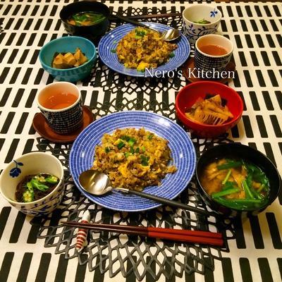高菜しらす納豆チャーハン・筍の煮もの♪