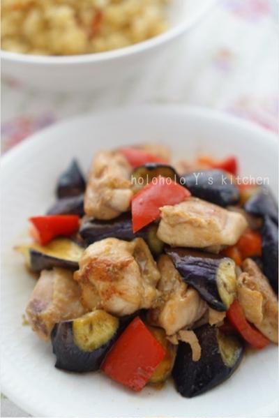 鶏と長茄子の柚子胡椒炒め