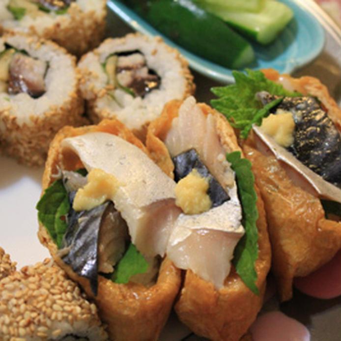 しめ鯖と大葉、生姜で作った稲荷寿司