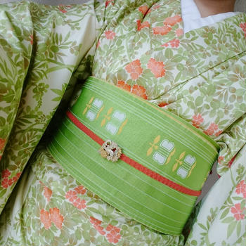 クリーム四季柄ポリ着物×緑遠州椿柄半幅帯