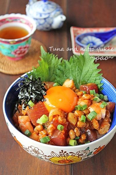 2度おいしい混ぜるだけのねばとろ海鮮納豆ユッケ丼☆簡単朝食どんぶり