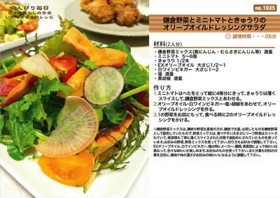 鎌倉野菜とミニトマトときゅうりのオリーブオイルドレッシングサラダ -Recipe No.1035-