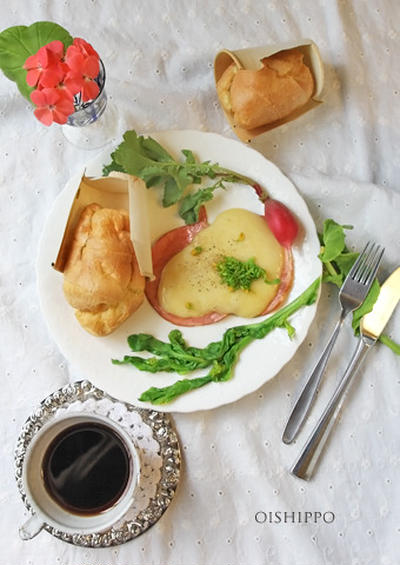 豆乳ポップオーバーでハムサンド朝ごはん