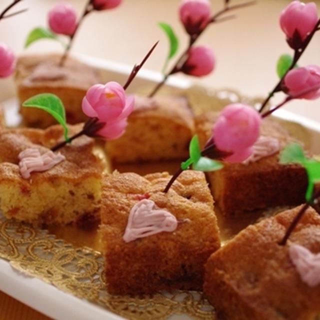 春色フルーツケーキ(ひな祭りパーティーやホワイトデーに)☆パウンドケーキアレンジ