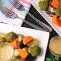 フライパンで作る4種の蒸し野菜と白味噌わさびマヨディップ