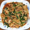 鶏胸肉と新キャベツのオーロラソース炒め&エビシュウマイ