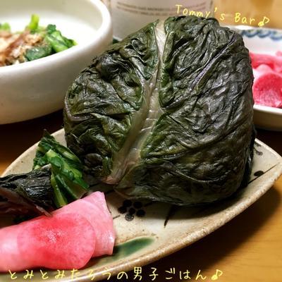 赤大葉高菜漬けのおにぎり♪