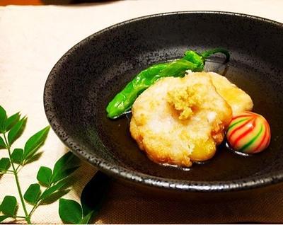 海老と里芋でしんじょ揚げ。(株)トキワさんのおかあさんのえーだし♡