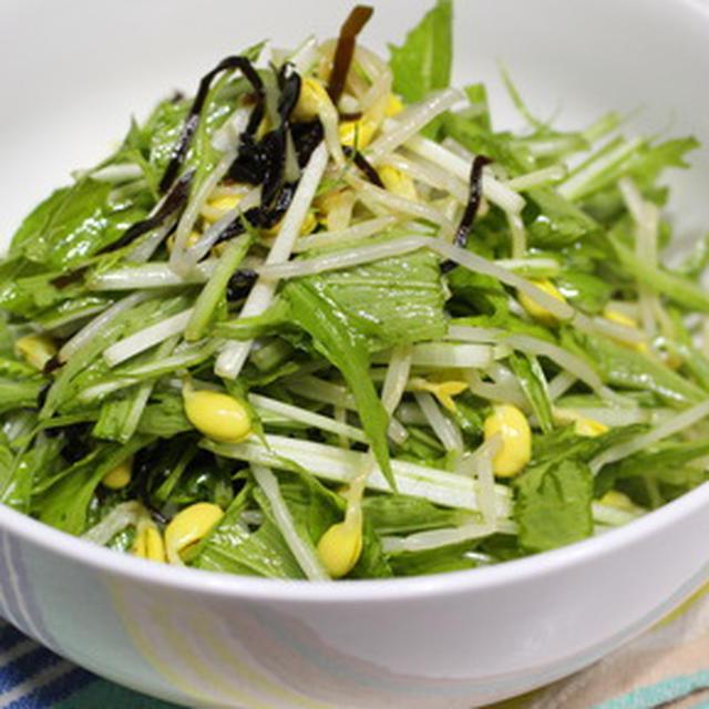 365日糖質オフレシピNo.152「水菜と豆もやしのサラダ」