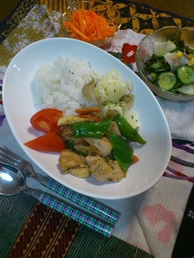 鶏ササミ肉とピーマンのバジル風炒め(^o^)v