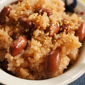 金時豆で作る「醤油おこわ/醤油赤飯」♪