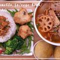 トマト豚汁 野菜たっぷりプレート♪オリーブ衣の唐揚げ スイートポテト by MOMONAOさん