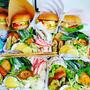 麺弁当&ハンバーガー&おにぎり&おにぎり弁当♪盛りだくさん^^ぐでたまキャラ弁^^