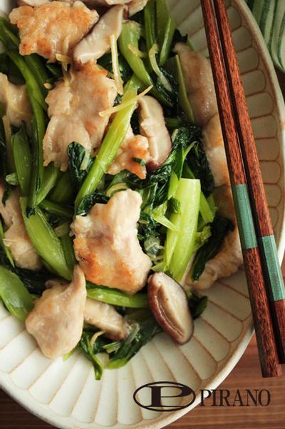 鶏むね肉と小松菜のしょうが炒め♪