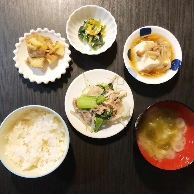 TUE 03/24/2020【幼児食】豚肉と青梗菜の炒め物&きのこのあんかけ豆腐