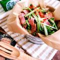 5分で完成!デリ風♡*水菜と干しえびのペペロンチーノサラダ