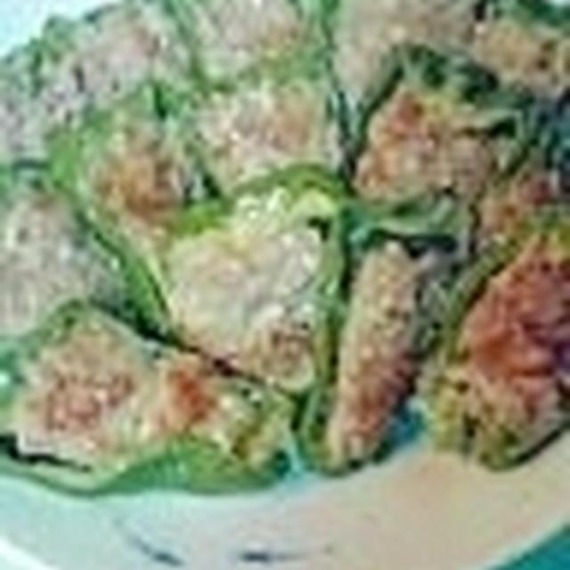 ピーマンの肉詰め味噌とゼラチンでふっくら美味しい♪