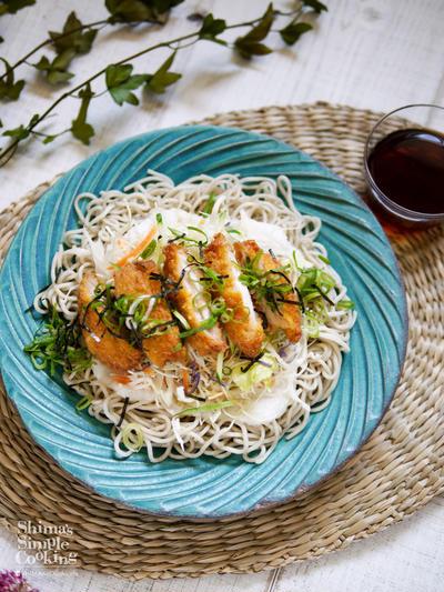 ワンステップ♪お手軽食材でボリューム満点のっけ麺【カツとろろのサラダそば】