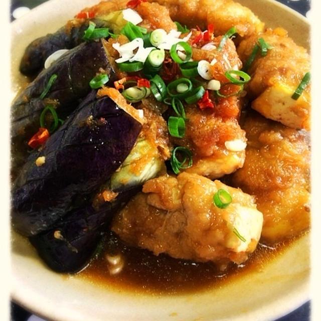 肉巻き豆腐と茄子のピリ辛みぞれ煮