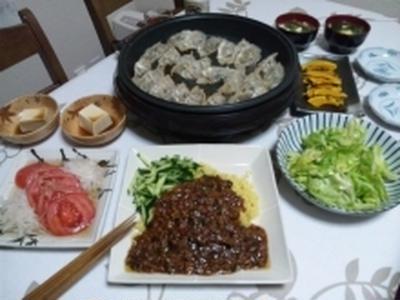ジャージャー麺と餃子☆パパはビールが進みます^^