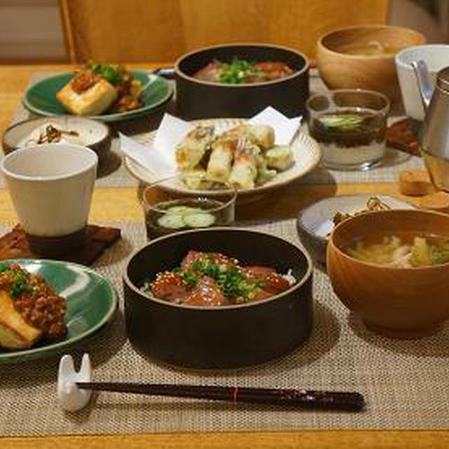 ハマチの漬け丼と豆腐の肉みそあんかけ