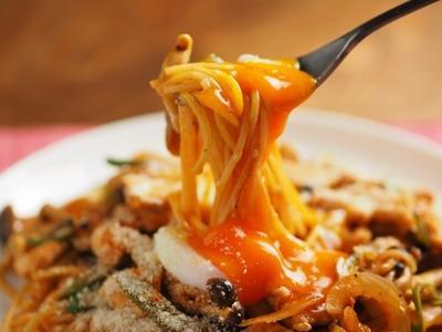 温玉鶏むね肉ナポリタン、筋トレ後のお昼の食事
