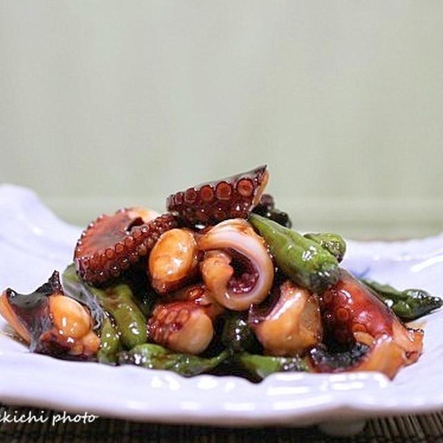 タコとしし唐の甘辛柚子風味炒め煮&「久ぶりに鰻巻き玉子焼きました」