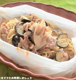 レンジで簡単★豚肉とナスの味噌焼きそば