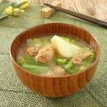 大豆ミートと春野菜の味噌汁