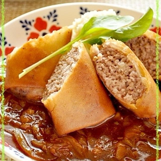 煮込み春野菜ソースdeパリパリハンバーグ春巻き♪山盛りチーズマッシュポテト添え