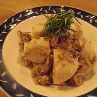 レシピブログ  ミツカン追いがつおのつゆでスタミナばっちり!里芋と豚ひき肉のガーリックそぼろ煮♪