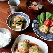 大根ステーキとか、しいたけの味噌マヨ焼きとか、野菜で簡単おかずと豚汁。