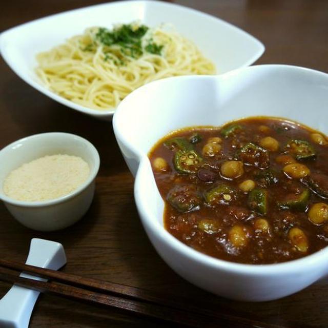 【モニター当選】オクラとサラダ豆のピリ辛ミートソースdeつけスパゲティ♪