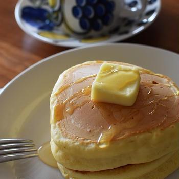 米油でおやつ作り「厚焼きホットケーキ」