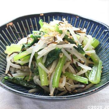 小松菜ともやしの塩こんぶ和え