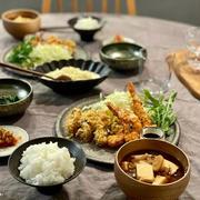 「カキフライ&エビフライ定食」の夜ごはんと、最近食べたコンビニスイーツとか