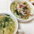 焙煎ごまスープとキュウリとミョウガの梅和え丼♡