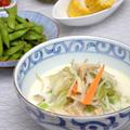 万能ナンプラーだれで海鮮ちゃんぽんと浸し枝豆の晩ご飯。
