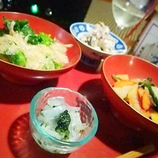 ヤリイカ青海苔ナムル、菜の花と湯葉の煮びたし、彩人参と丘ワカメ土佐文旦のマリネ