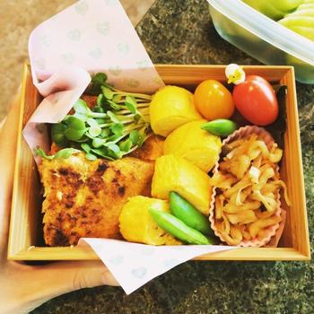 サーモンの西京焼きお弁当。♡出汁巻と切干し大根入り♡