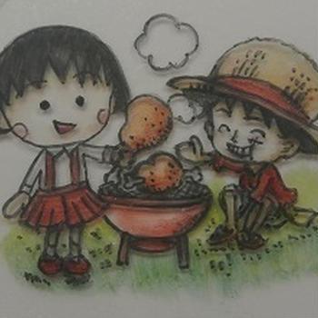 追悼さくらももこ先生~まる子とルフィのコラボキャラ弁2種