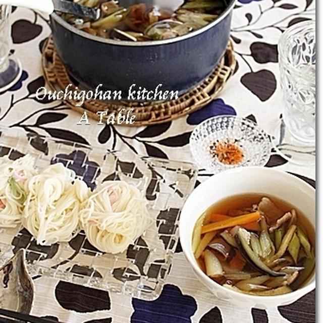 「温かいつけ汁で食べる素麺」でランチ♪