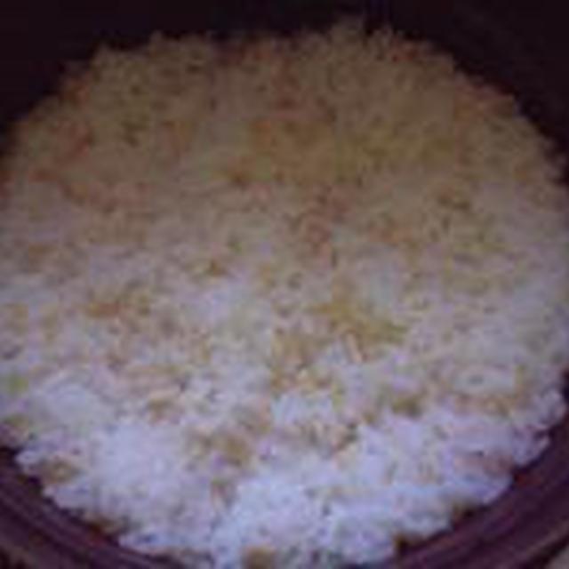 湯立てで白米(665)。。。特別栽培米広島世羅高原産コシヒカリ玄米(あいざわ米店)福井県産越前たけふ特別栽培米コシヒカリ白米(あいざわ米店)