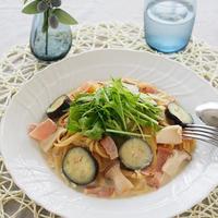 茄子とベーコンのだし豆乳パスタ♪「おだしを活かしたパスタレシピ」