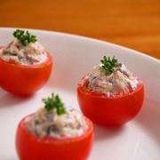 プチトマトのファルシ♪さばマヨサラダ。簡単さば缶レシピ