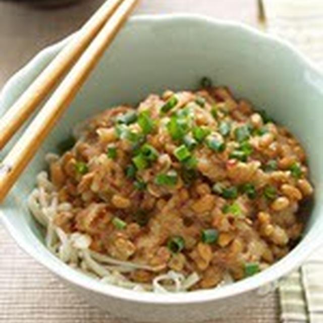 ヘルシー素麺のおろし納豆がけ