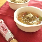 夏野菜入り しそ梅とろろスープ