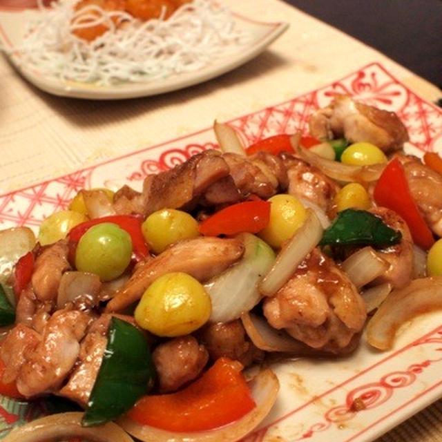 鶏肉と銀杏の中華炒め&海老チリ他