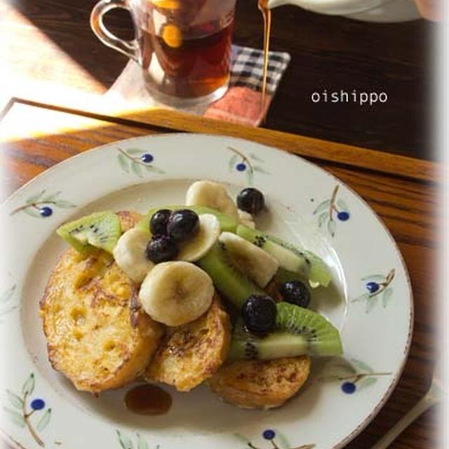 レンチン黒砂糖シロップでフルーツフレンチトースト