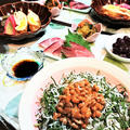 シンプルながらも栄養満点の和食な食卓!【しらすと大葉の納豆丼 de 夕食】意外と喜ぶ超節約丼!